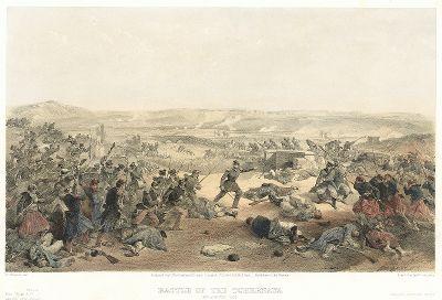 Сражение у реки Чёрная 16 августа 1855 года. The Seat of War in the East by William Simpson, Лондон, 1856 год. Часть II, лист 14