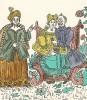 """Кайзер с горя пьёт, гуляет, а жена ему пеняет: будешь, не будешь пить - союзники тебя будут бить. """"Картинки - война русских с немцами"""". Петроград, 1914"""