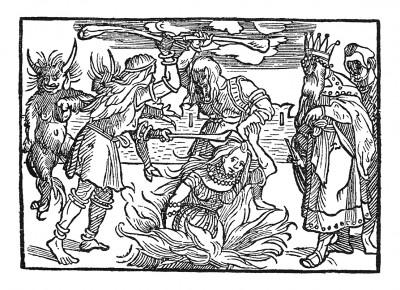 Сожжение вдовы. Иллюстрация Йорга Бреу Старшего к описанию путешествия на восток Лодовико ди Вартема: Ludovico Vartoman / Die Ritterliche Reise. Издал Johann Miller, Аугсбург, 1515
