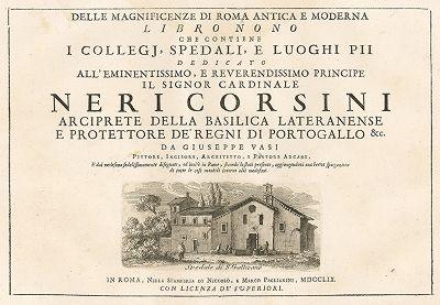 "Титульный лист девятого тома ""Delle magnificenze di Roma antica e moderna ..."" Джузеппе Вази, Рим, 1759."