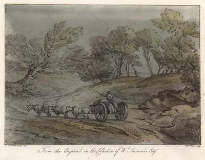 Пейзаж с повозкой, запряженной тремя лошадьми. Гравюра с рисунка знаменитого английского пейзажиста Томаса Гейнсборо из коллекции У. Александра. A Collection of Prints ...of Tho. Gainsborough, Лондон, 1819.