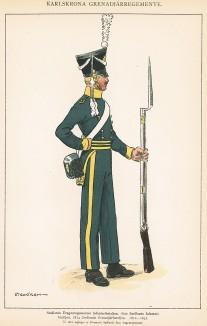 Солдат пехотного батальона шведского драгунского полка Småland в униформе образца 1812-31 гг. Svenska arméns munderingar 1680-1905. Стокгольм, 1911