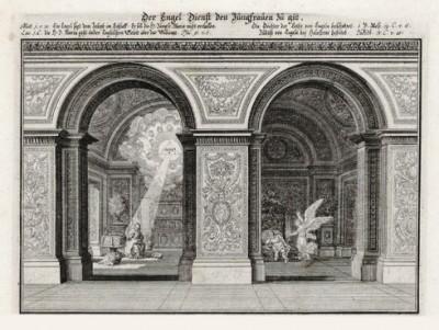 Ангел открывает тайну Девы Марии Иосифу (из Biblisches Engel- und Kunstwerk -- шедевра германского барокко. Гравировал неподражаемый Иоганн Ульрих Краусс в Аугсбурге в 1694 году)