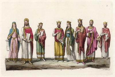 Франкские короли (из работы Джулио Феррарио Il costume antico e moderno, o, storia... di tutti i popoli antichi e moderni, изданной в Милане в 1826 году (Европа. Том V))