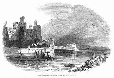 Железнодорожный мост из трубчатых элементов через реку Конвей в Уэльсе, построенный в 1848 году британским инженером Робертом Стивенсоном (1803 -- 1859) (The Illustrated London News №307 от 11/03/1848 г.)