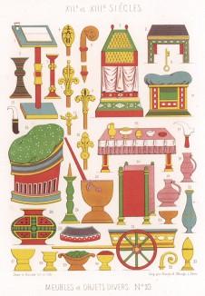 Интерьерные фенечки из средневековых французских журналов (из Les arts somptuaires... Париж. 1858 год)