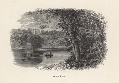 """Рыбаки на реке Дарт в южной Англии (иллюстрация к работе """"Пресноводные рыбы Британии"""", изданной в Лондоне в 1879 году)"""