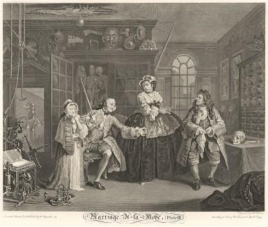 Модный брак, гравюра 3. «Визит к шарлатану», 1745. Граф приводит к врачу свою юную любовницу. У мужчины на шее сифилитическое пятно, а в левой руке - коробка с таблетками, которые не подействовали. В правой руке он угрожающе сжимает палку. Лондон, 1838