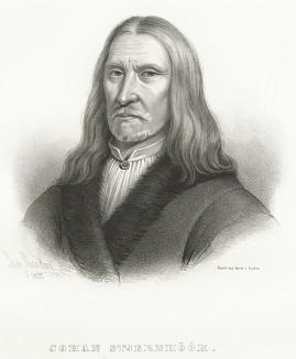 Юхан Стьернхуук (1596-1675), шведский юрист, королевский советник. Galleri af Utmarkta Svenska larde Mitterhetsidkare orh Konstnarer. Стокгольм, 1842