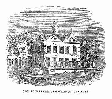 Здание научной ассоциации по борьбе с пьянством в британском городе Ротерем, расположенном в графстве Южный Йоркшир (The Illustrated London News №88 от 06/01/1844 г.)
