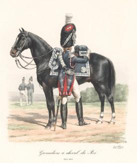 Гвардейский конный гренадер короля Франции седлает лошадь в 1815 году. Histoire de la Maison Militaire du Roi de 1814 à 1830. Экз. №93 из 100, изготовлен для H.Fontaine. Том II, л.72. Париж, 1890