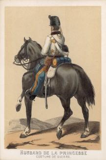 Испанский гусар в полевой форме образца 1860 года (полк de la princesse) (из альбома литографий L'Espagne militaire, изданного в Париже в 1860 году)