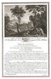 Святой Иероним в пустыне кисти Доменикино. Лист из знаменитого издания Galérie du Palais Royal..., Париж, 1786