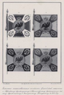 Историческое описание одежды и вооружения российских войск... А. В. Висковатова. Знамёна, пожалованные полкам армейской пехоты в 1808 году (лист 2404)