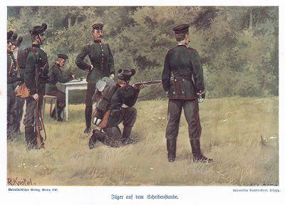Занятия по стрельбе. Униформа саксонской  пехоты в 1890 гг. Unser Vaterland in Waffen Ein patriotischer Hausschatz für das deutsche Volk und Heer, л.19. Берлин, 1900