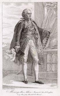 Бон Адриен Жанно де Монсей (1754-1842), маршал Франции с 1804 года. Galerie des Marechaux de France par Ch. Gavard, Париж, 1839 год.