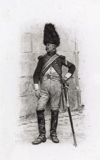 """Французский карабинер в 1805 году (иллюстрация к известной работе """"Кавалерия Наполеона"""", изданной в Париже в 1895 году)"""