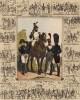 Жандармы (на картуше 13 миниаютюр со сценами службы муниципальной гвардии Парижа) (из Esquisses historiques... de l'armée francaise генерала Амбера. Брюссель. 1841 год)
