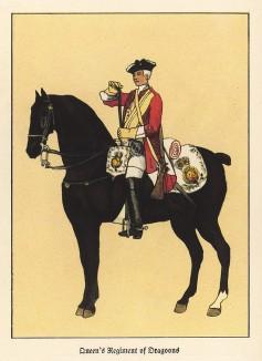 Английский драгун полка Её Величества королевы в 1742 году (из популярной в нацистской Германии работы Мартина Лезиуса Das Ehrenkleid des Soldaten... Берлин. 1936 год)