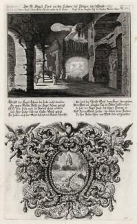 1. Печь для всех соблазнов мирских 2. Иисус во славе своей (из Biblisches Engel- und Kunstwerk -- шедевра германского барокко. Гравировал неподражаемый Иоганн Ульрих Краусс в Аугсбурге в 1694 году)