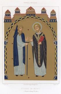 Святой Этьен де Мюре (1044–1124) -- основатель монашеского ордена валломброзанцев (из Les arts somptuaires... Париж. 1858 год)