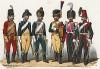 Униформа французских конных егерей с 1743 по 1840 гг. Costumes de l'armée française depuis Louis XIV, jusqu'à nos jours, л.36. Париж, 1841