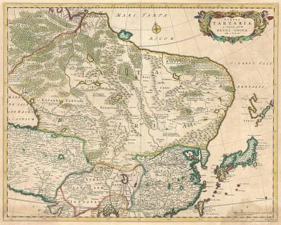 Карта Тартарии, Китая и Японии. Tabula Tartariae et majoris partis Regni Chinae. Составил Фредерик де Вит. Амстердам, 1680