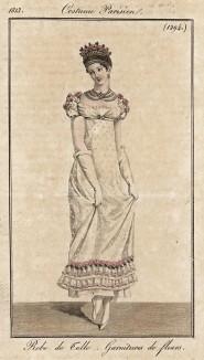 Платье из тюля, украшенное по низу оборочками и цветами. Из первого французского журнала мод эпохи ампир Journal des dames et des modes, Париж, 1813. Модель № 1294
