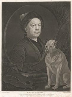 Автопортрет с собакой Трампом. 1749. Гравюра с живописного полотна 1745 г. На портрете Хогарта, помимо любимого пса, изображены палитра и книги Шекспира, Свифта и Мильтона, которые он иллюстрировал. Лондон, 1838
