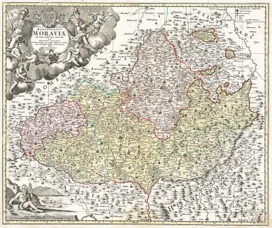 Карта Моравии. Tabula generalis Marchionatus Moraviae in sex circulos divisae quos mandato Caesareo accurate emensus. Составил Иоганн Баптист Гомман. Нюрнберг, 1720