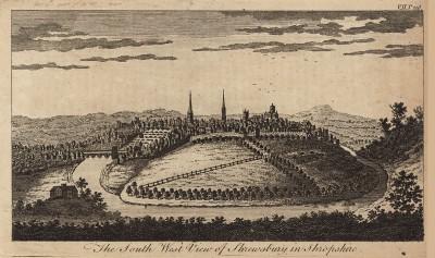 Вид на город Шрусбери в графстве Шропшир (Англия) (из A New Display Of The Beauties Of England... Лондон. 1776 г. Том 2. Лист 216)