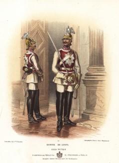Прусские конногвардейцы в униформе дворцового караула образца 1870-х гг. Preussens Heer. Берлин, 1876