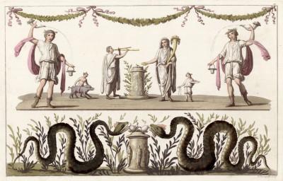 Лары (с фрески в Геркулануме) (из знаменитой работы Джулио Феррарио Il costume antico e moderno, o, storia... di tutti i popoli antichi e moderni, изданной в Милане в 1820 году (Европа. Том II))