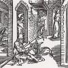 """Верёвочник замечает монаха, выходящего из покоев его жены (иллюстрация к книге """"Рыцарь Башни"""", гравированная Дюрером в 1493 году)"""