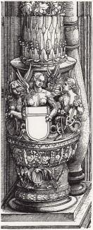 Гарпии с пустым гербовым щитом (деталь дюреровской Триумфальной арки императора Максимилиана I)