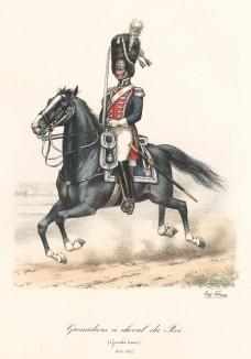 Гвардейский конный гренадер короля Франции в парадной форме образца 1815 года. Histoire de la Maison Militaire du Roi de 1814 à 1830. Экз. №93 из 100, изготовлен для H.Fontaine. Том II, л.71. Париж, 1890