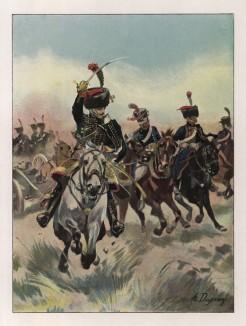 """Офицер конной артиллерии в парадной форме (иллюстрация к работе """"Императоская Гвардия в 1804--1815 гг."""" Париж. 1901 год. (экземпляр № 303 из 606 принадлежал голландскому генералу H. J. Sharp (1874 -- 1957))"""