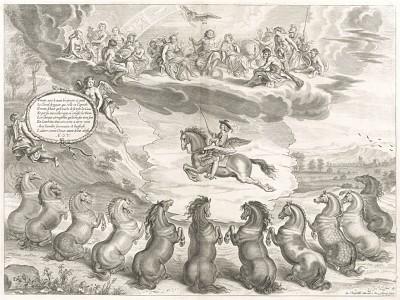 Олимпийские боги любуются герцогом Ньюкаслом, оседлавшим Пегаса (из бестселлера XVII века La Méthode Nouvelle et Invention extraordinaire de dresser les Chevaux... (фр.) герцога Ньюкасла. Антверпен. 1658 год (лист 4))