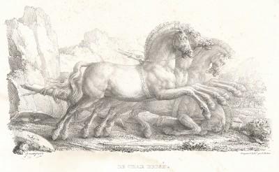 Разбитая колесница. Литографировал Филипп-Огюст Эннекен. Recueil d'esquisses et fragmens de compositions, tirés du portefeuille de Mr. Hennequin. Турне (Бельгия), 1825