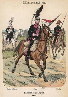 Униформа лёгкой кавалерии Ганзейского легиона образца 1814 г. Uniformenkunde Рихарда Кнотеля, часть 2, л.47. Ратенау (Германия), 1891