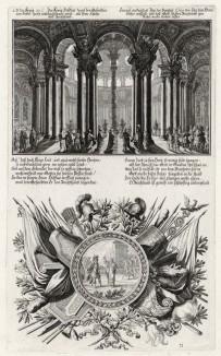 1. Исайя во дворце Езекии 2. Исайя показывает Езекии небесные знамения (из Biblisches Engel- und Kunstwerk -- шедевра германского барокко. Гравировал неподражаемый Иоганн Ульрих Краусс в Аугсбурге в 1700 году)