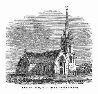 Приходская церковь в английском городке Гравесенд графства Кент, построенная в 1844 году в раннеанглийском стиле из рваного камня архитектором Джеймсом Уилсоном (1816 -- 1900 гг.) (The Illustrated London News №108 от 25/05/1844 г.)