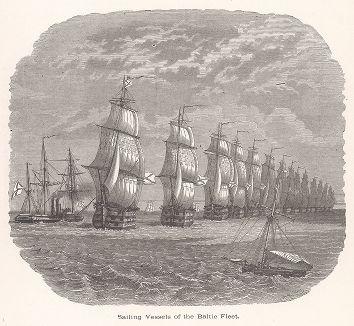 "Парусные суда Балтийского флота. Ксилография из издания ""Voyages and Travels"", Бостон, 1887 год"
