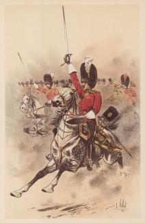 """Шотландские драгуны в атаке (из """"Иллюстрированной истории верховой езды"""", изданной в Париже в 1893 году)"""