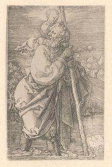 Святой Христофор. Гравюра Альбрехта Дюрера, выполненная в 1521 году (Репринт 1928 года. Лейпциг)