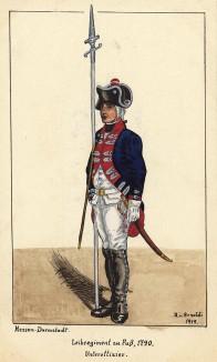 1790 г. Унтер-офицер гвардейского пехотного полка zu Fuss ландграфства Гессен-Дармштадт. Коллекция Роберта фон Арнольди. Германия, 1911-29