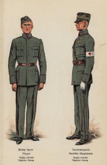 Рядовой ВВС Норвегии и капитан медицинской службы в повседневной форме одежды (лист 7 работы Den Norske haer. Organisasjon bevaebning, og uniformsbeskrivelse, изданной в Лейпциге в 1932 году)
