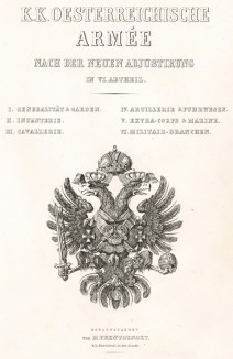 Титульный лист K. K. Oesterreichische Armée nach der neuen Adjustirung in VI. abtheil. Вена. 1837 год