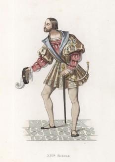 """Дворянин, приветствующий короля Франциска I (XVI век) (лист 73 работы Жоржа Дюплесси """"Исторический костюм XVI -- XVIII веков"""", роскошно изданной в Париже в 1867 году)"""