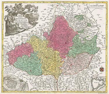Карта Моравии. Mappa Geographica specialis Marchionatus Moraviae.